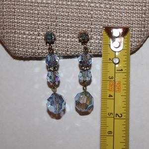The Vintage Guest Room Jewelry - Vintage Blue and Rhinestone clip Earrings